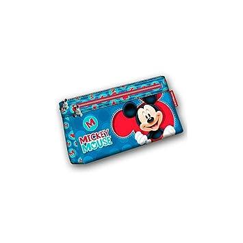 Mickey Mouse Estuche portatodo Plano Doble Color Azul 22 cm ...