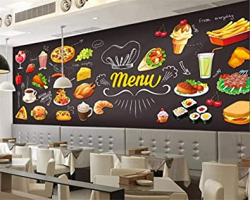 Beibehang Custom Wallpaper HD Hand Painted Western Restaurant Burger Pizza Chicken Wings Fast Food Wall