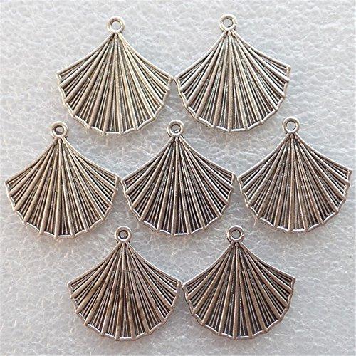 Yuteng Jewelry®20pcs Tibetan Silver Fan-shaped Pendant Bead