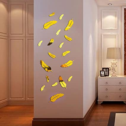 Removable 3D Feather Mirror Stickers DIY Wall Home Decals Vinyl Art Silver//Gold