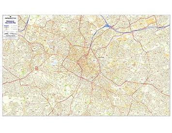Map Of Uk Birmingham.Birmingham Postcode Map Laminated City Centre Sector Wall Map 2