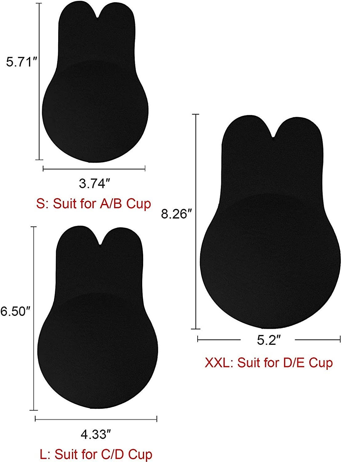 Memoryee Womens Push Up Adhesive Silicone Invisible Rabbit Bra Reusable Lifting Bra Cups Nipple Cover