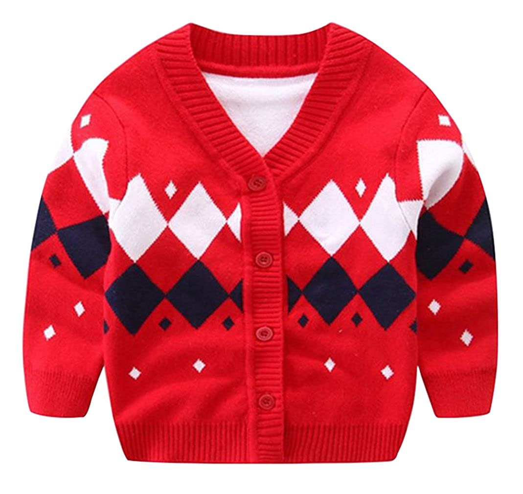 La Vogue Toddler Unisex Baby V-Neck Knitting Rhombus Pattern Cardigan Sweater