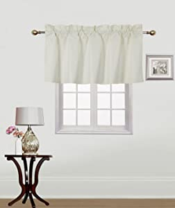 Gorgeous Home Linen (RS9) 1 Small Short Decorative Rod Pocket Foam Lined Blackout Swag Window Curtain Straight Valance for Kitchen, Living Room, Bedroom, Nursery, Basement & Bathroom (Ivory)