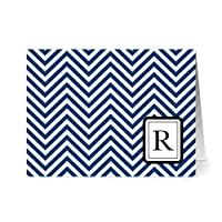 Note Card Café Monogram Navy 'R' Letter Cards | Grey Envelopes | 24 Pack | Blank Inside, Glossy Finish | Modern Chevron Design |Bulk Set | Stationery, Personalized Greeting, Thank You