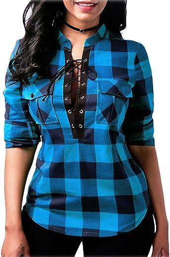 Minetom Mujer Blusa Camisa a Cuadros Mujeres Blusas ...