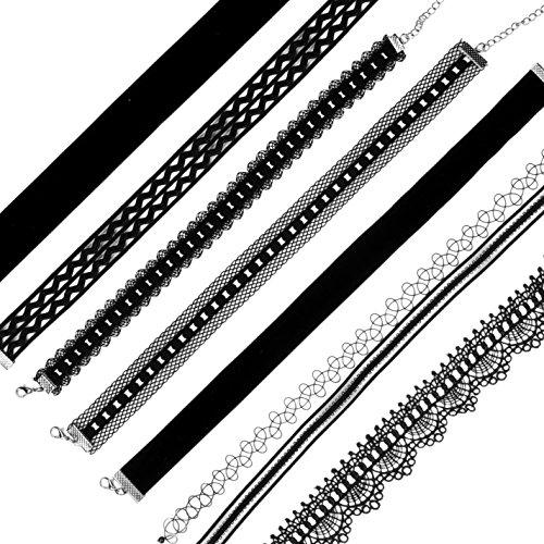 RufNTop 4-10 Set Choker Necklaces for Women Girls Black Velvet Tattoo Choker Collar Lace Vintage Adjustable J SET : 10 PCS