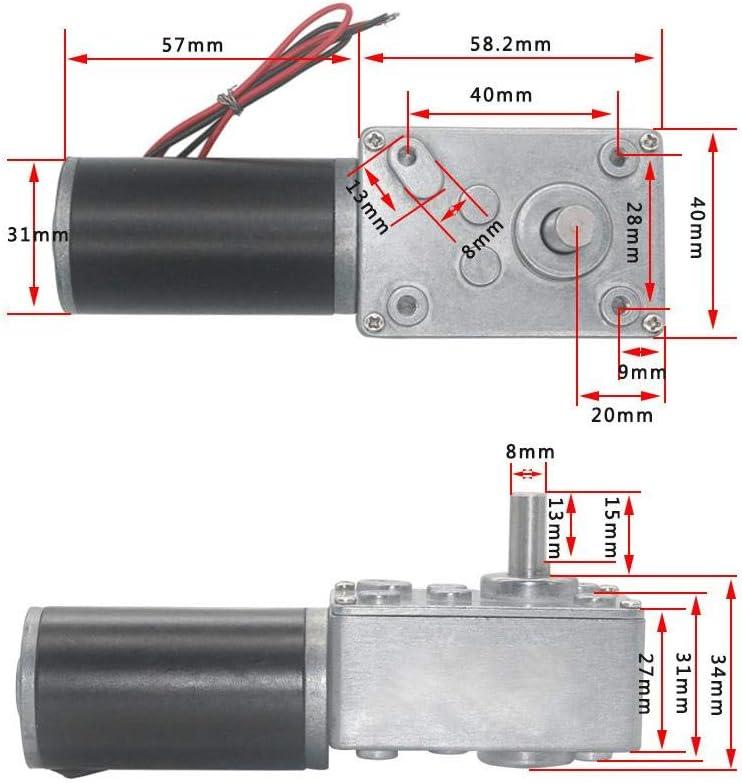 Nikou Schneckengetriebemotor 12V 12RPM hohe Torsionsgeschwindigkeit Reduzieren Sie den elektrischen Getriebemotor Reversibler Schneckengetriebemotor 8mm Welle 12V