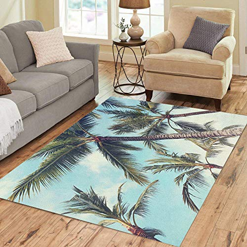 Semtomn Area Rug 2' X 3' Chill Palm Trees Vintage Effect Beach Cuba Hotel Cancun Home Decor Collection Floor Rugs Carpet for Living Room Bedroom Dining Room