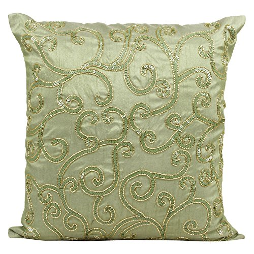 Green Decorative Pillow Cover - Sequinned Green Throw Pillow Cover In Swirl Pattern - Perfect for Home Décor & Gifts (Green, 20X20 inches) By The White - Swirl Petals