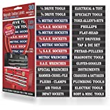 """Steellabels -Magnetic Tool Box Organizer Labels (blue edition) organize boxes, drawers & cabinets """"Quick & Easy"""", fits all brands of 'Steel' tool chest Craftsman, Snap-on, Mac"""