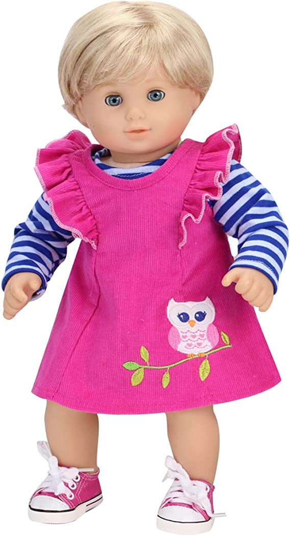 "Pink Embroidered Owl Tee Shirt Top 18/"" Doll Clothes Fit American Girl"