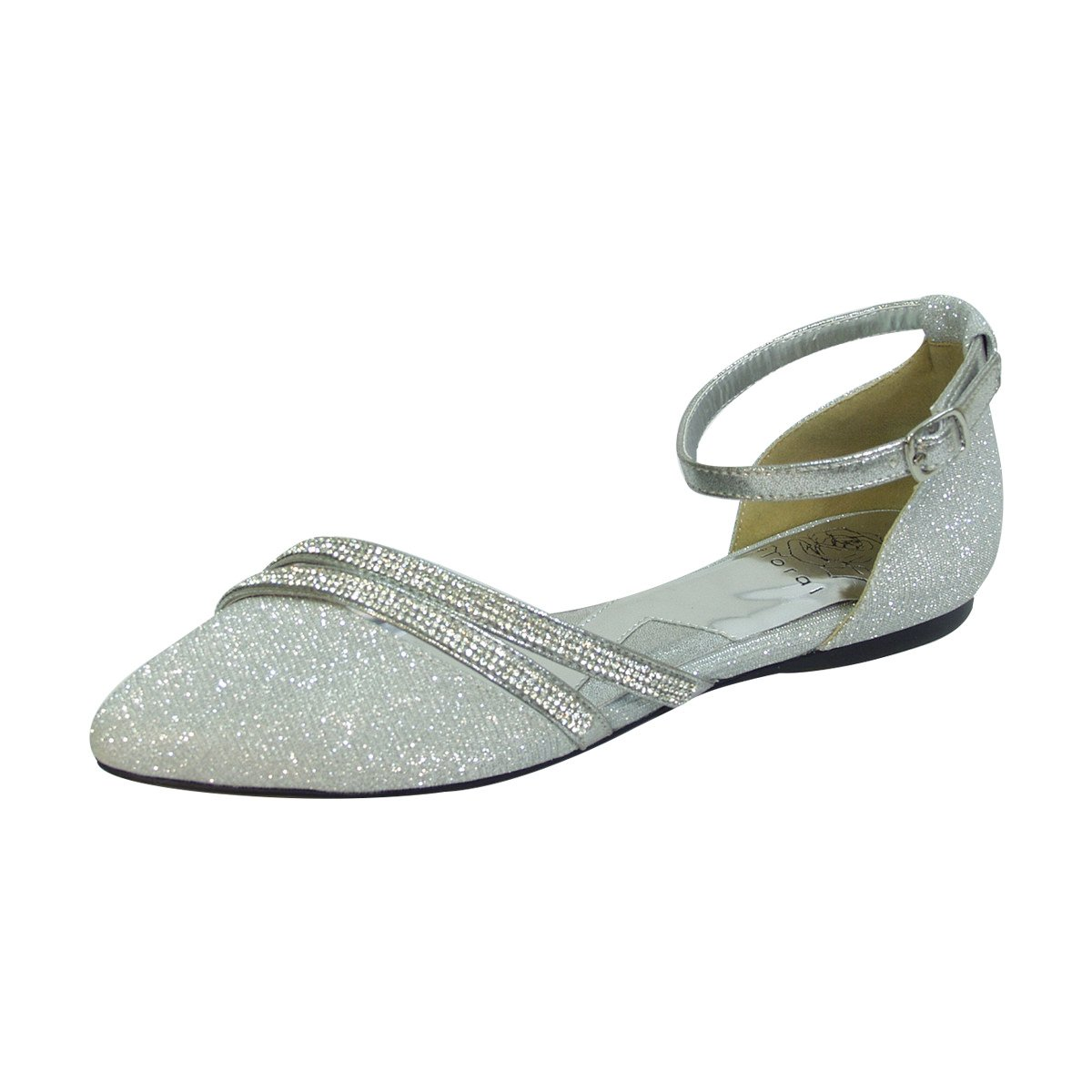 Fuzzy Hallie Women Wide Width Open Shank Pointed Toe Buckle Ankle Strap Flats (Size & Measurement) B0773WCVNF 8.5 D|Silver