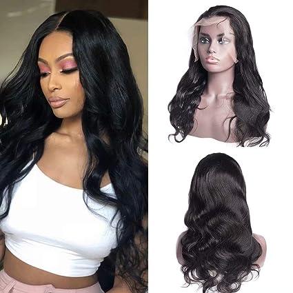 Maxine Cabello humano Lace Front Peluca de pelo pelucas en estado natural  Virgin brasileño cuerpo Wave d712356c1baa