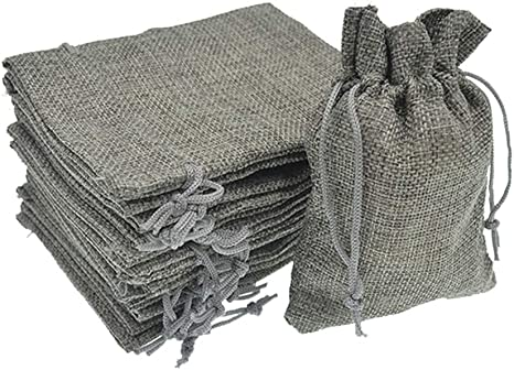 20PCS Hessian Drawstring Gift Bags Fabric Linen Christmas Pouch Wedding Favours