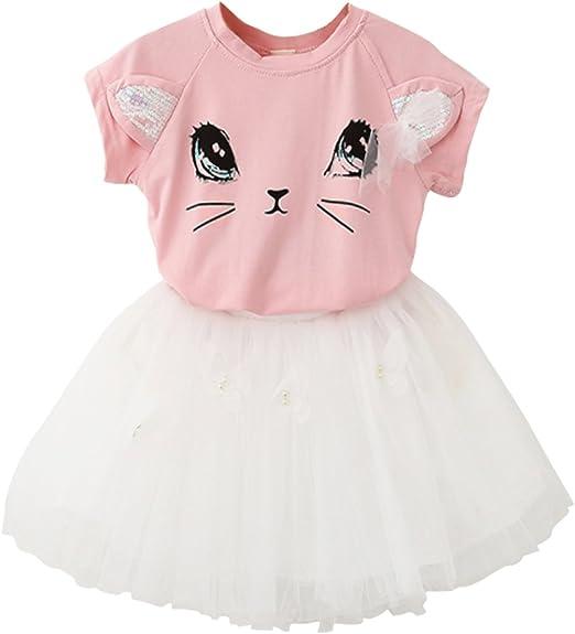 Toddler Baby Girls Summer Outfits Cat Print T-Shirt Dress Long Sleeve Skirt One-Piece Clothes Set