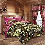 20 Lakes Neon Green Lime & Hot Pink Camo Comforter, Sheet, Pillowcase Set (Queen, Neon Green - Hot Pink)