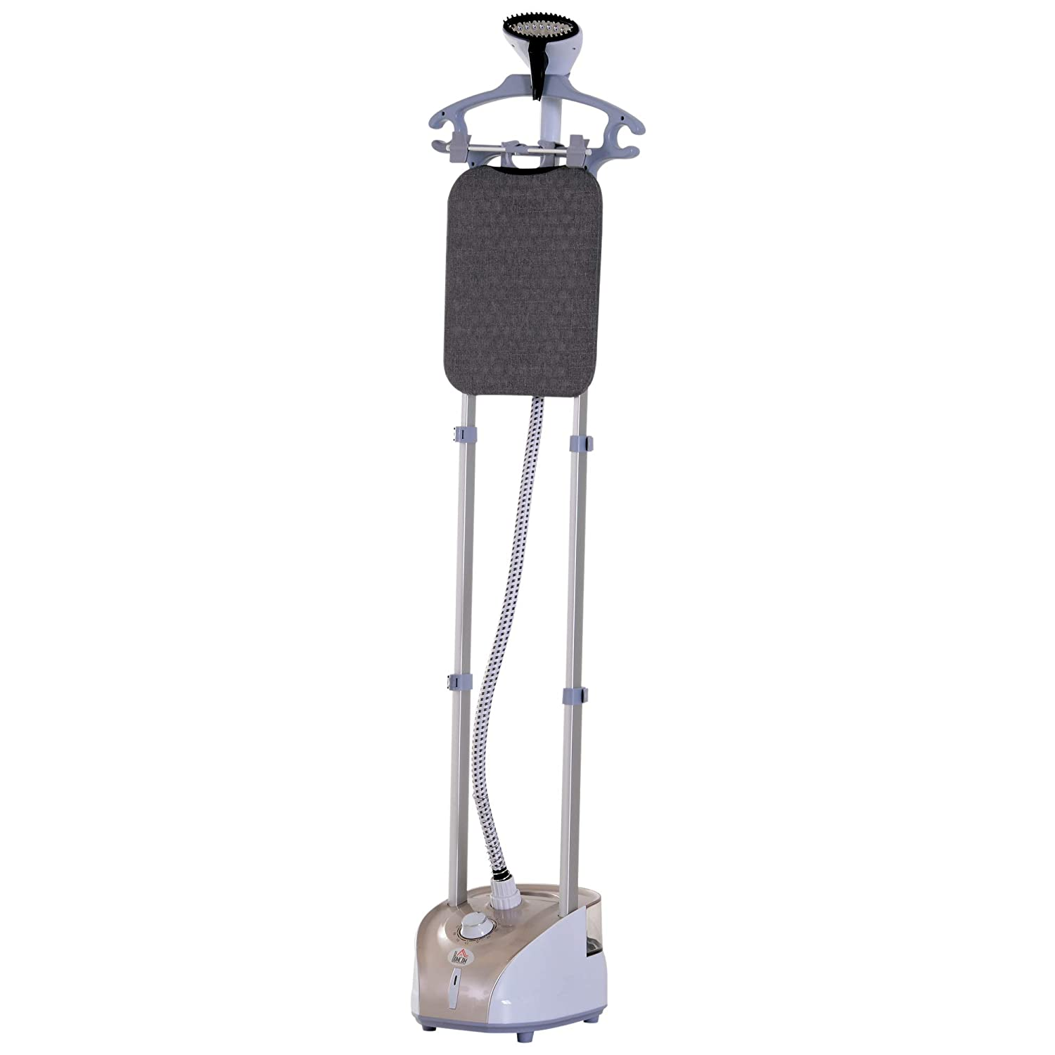 HOMCOM 1350W Upright Fabric Garment Steamer with Built-in Ironing Board and Hanger,2L Water Tank