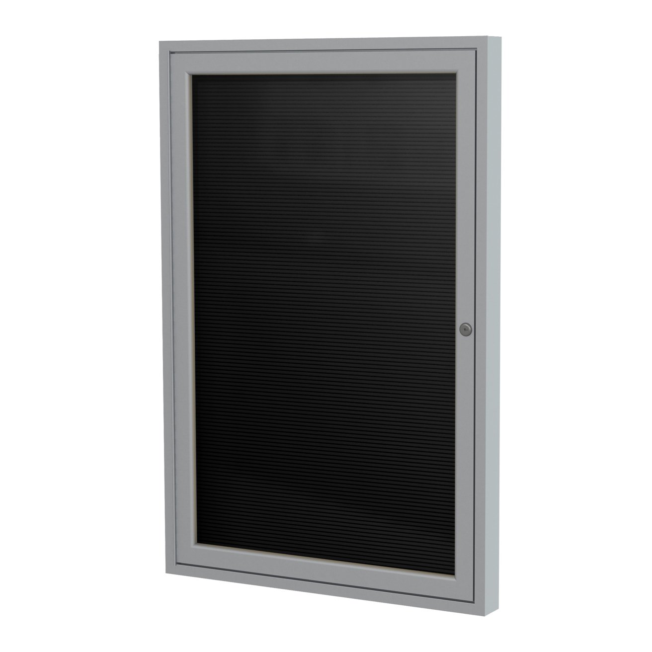"""Ghent 3"""" x 2"""" 1-Door Satin Aluminum Frame Enclosed Flannel Letterboard - Black - Made in the USA"""