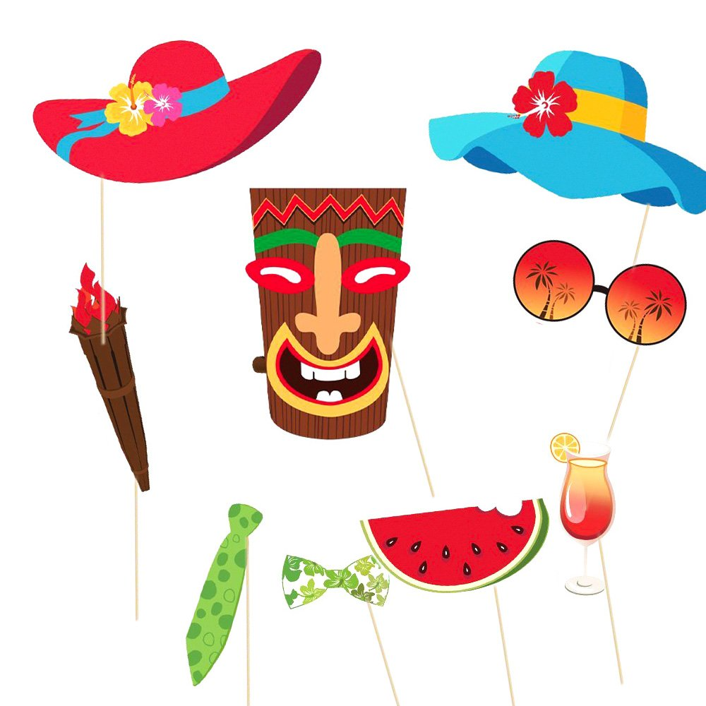 MMTX 60 Pièces Hawaiian Photo Booth Selfie Cadre Props Unisexe Drôle Kit  DIY Photobooth Prop Moustaches Masques Luau Tropical Tiki Beach Summer Pool  Party ... e5ae4ed7427