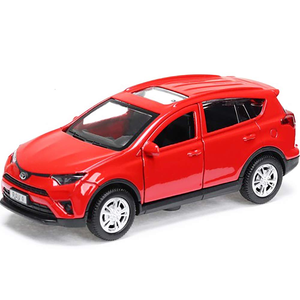 Diecast Toy Car Toyota RAV4 1:36 Scale Metal Model - Red Сompact Сrossover SUV Russian Die Cast Toy Cars