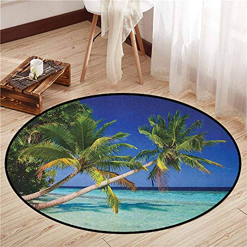 (Indoor/Outdoor Round Rugs,Ocean,Maldives Bay Paradise Resort Summer in Pacific Holiday Destinations,Ideal Gift for Children,2'7