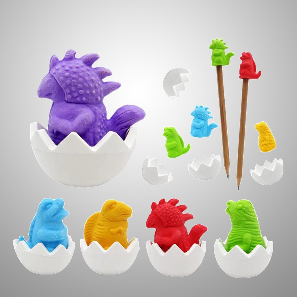 TOYANDONA 40PCS Pencil Eraser Caps Toppers School Supplies Dinosaur Egg Erasers Stationery (Assorted Colors)