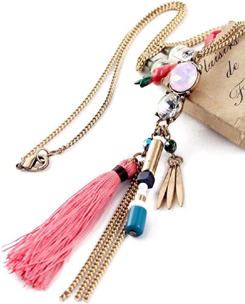 Nordic Art /& Design G9 Tassel Glass Crystal Charm Necklace Burnished Gold Tone New Today