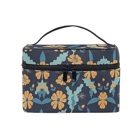 Uosliks Amarillo Azul Art Flower Cosmetic Bag Organizer Cremallera Bolsas de Maquillaje Bolsa Estuche de Aseo para niña Mujer: Amazon.es: Hogar