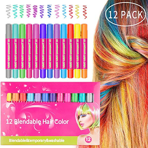 12 Colors Hair Chalk Set Non-Toxic Chalk Hair Dye Pens Temporary Hair Color for Carnival, Theme Party ()