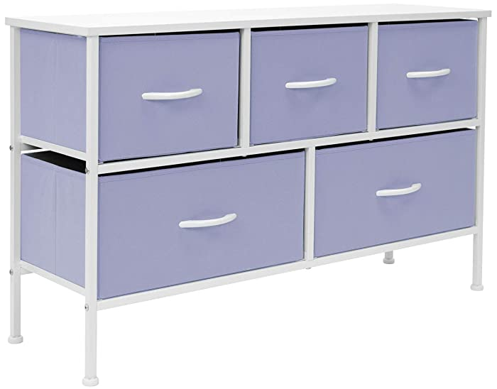 Sorbus Dresser with 5 Drawers - Furniture Storage Chest for Kid's, Teens, Bedroom, Nursery, Playroom, Clothes, Toys - Steel Frame, Wood Top, Fabric Bins (Pastel Purple)