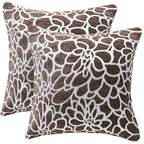 100% Cotton Farmhouse Decoration Throw Pillow Covers Handmade Cushion Cases Cover for Sofa Cotton Embroidered Decor Throw Pillow Case Floral Pattern Cushion Covers (Brown-2pcs, 20x20 inches)