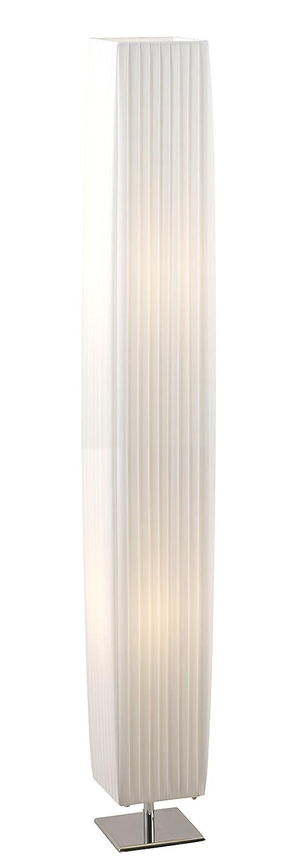 Globo Stehleuchte H: 120 cm 15 x 15 cm 24662 wei/ß Schalter 2 x E27 mA x 40 W chrom mit Faltenschirm
