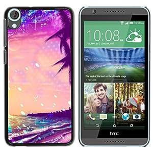 iKiki Tech / Estuche rígido - Glitter Purple Palms Miami Tropics - HTC Desire 820