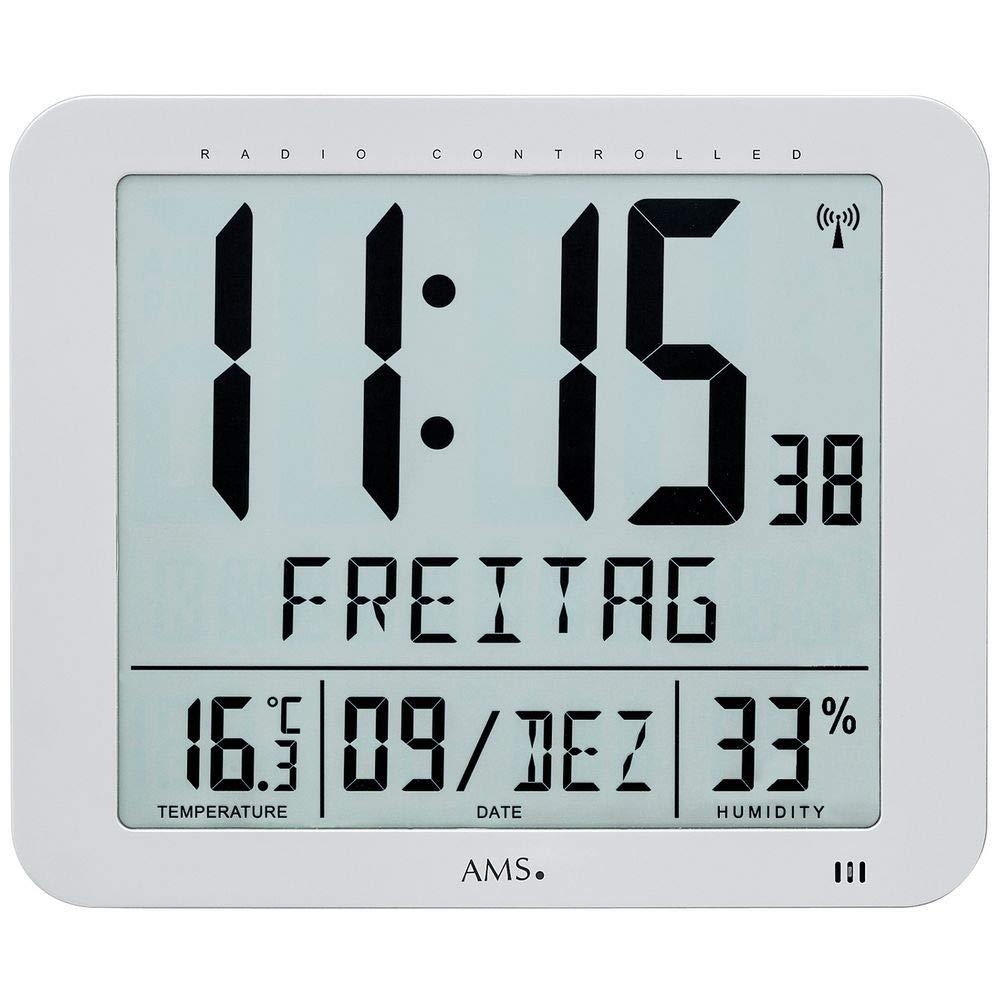 AMS 5884 Wanduhr Tischuhr Funk Funkwanduhr Digital Datum Thermometer Wecker