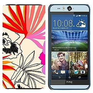 EJOOY---Cubierta de la caja de protección para la piel dura ** HTC Desire Eye M910x ** --Hojas Patrón Arte Naturaleza Verano