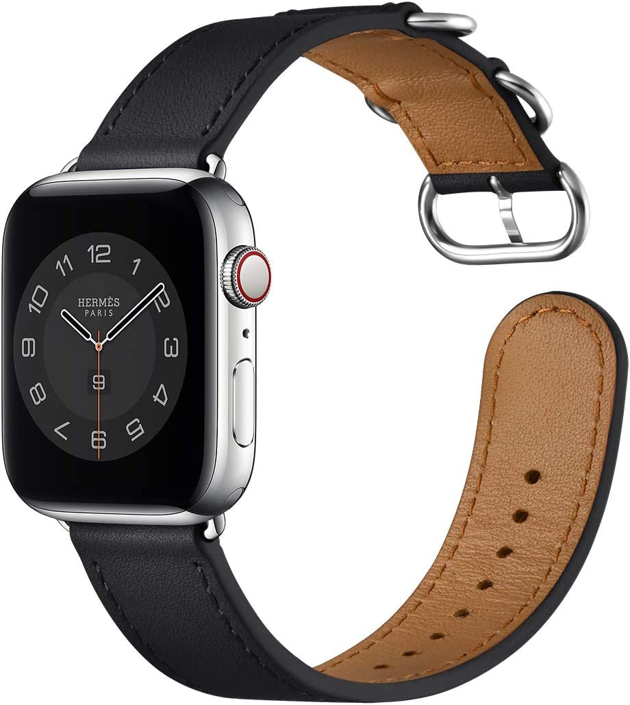 Leather Bands Compatible with Apple Watch Band 38mm 40mm 42mm 44mm,Genuine Leather Replacement iWatch Band for iWatch Series5/4/3/2/1 (Black/Silver, 38mm 40mm)