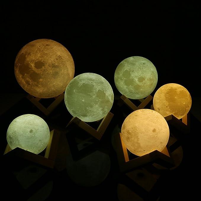 3D LED Lámpara Luna Decoración de Domitorio Lectura 12CM 3000/6000K USB: Amazon.es: Iluminación