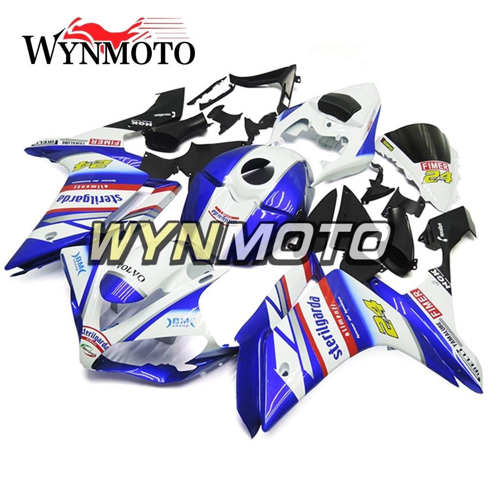 WYNMOTO ABS インジェクション外装部品セットヤマハ r1 YZF-r1 2007 2008 ホワイトブルーブラックボディ   B075K52YP7