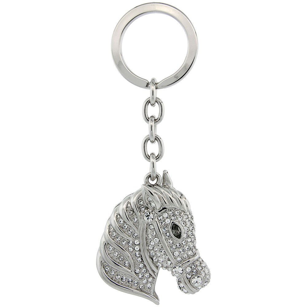 Horse Head Key Chain, Key Ring, Key Holder, Key Tag , Key Fob, w/ Brilliant Cut Swarovski Crystals, 4'' tall