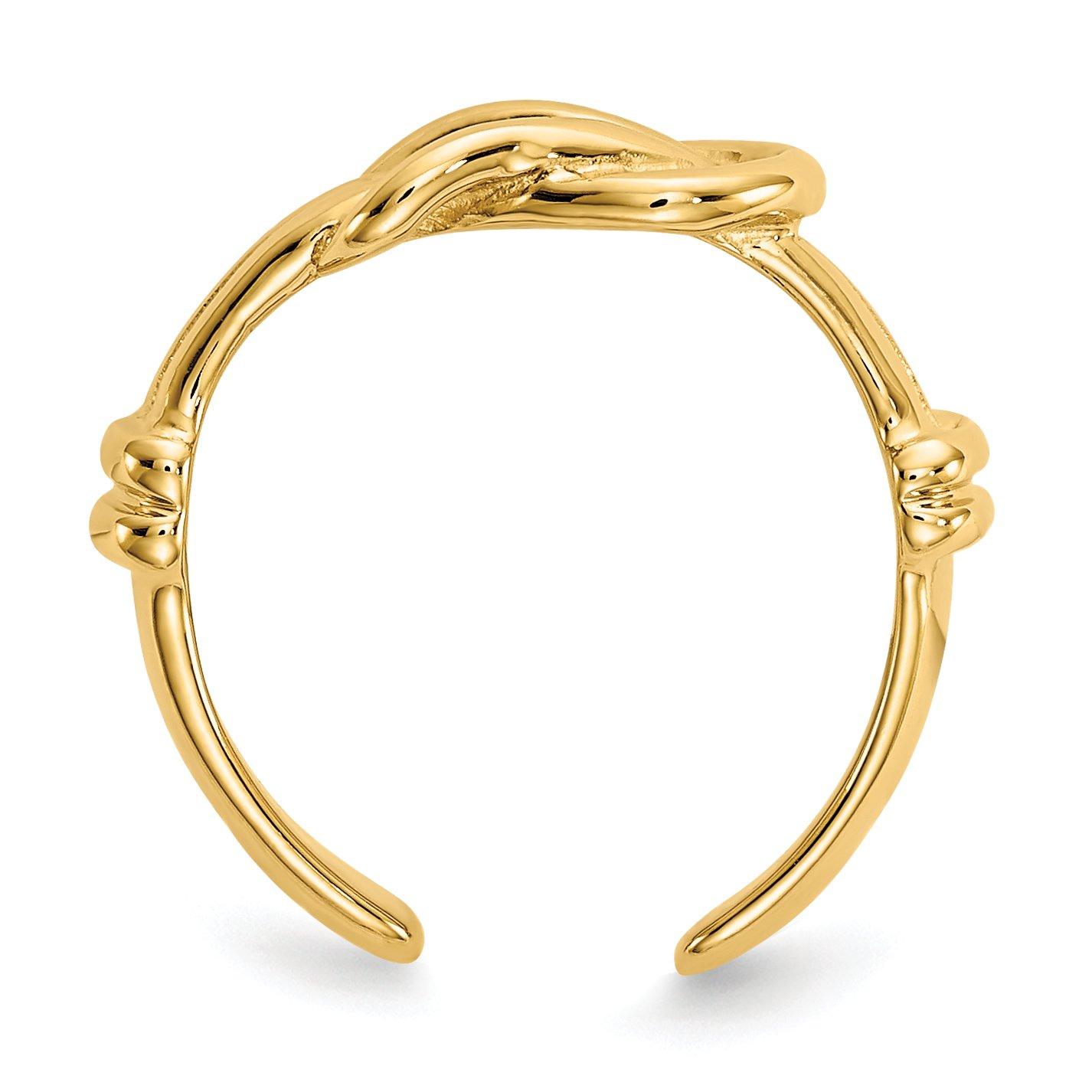 14k Yellow Gold Love Knot Toe Ring Diamond2Deal 70484831