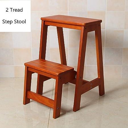 KJAEDL 2 taburetes de Madera for Adultos y niños Cubierta Plegable Escalera de Tijera de Cocina de Madera Escaleras Pequeño Pie heces Banco de Calzado portátil/Flor de estanterías (Color : Brown): Amazon.es: