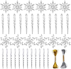 Christmas Snowflake Decorations,36pcs Icicles Ornaments Set Clear Snowflake Acrylic Christmas Ornaments for Santa Outdoor Party Decoration Craft Projects