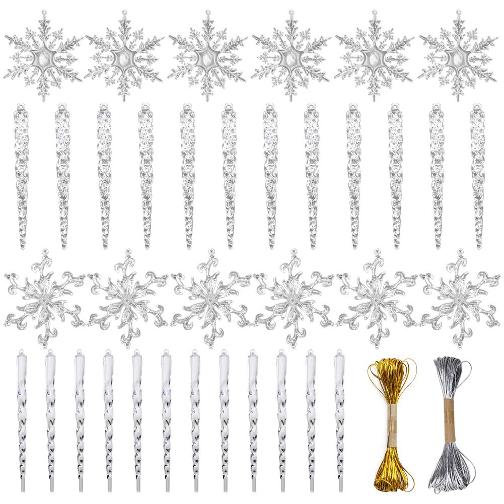 VGoodall Christmas Snowflake Decorations,36pcs Icicles Ornaments Set Clear Snowflake Acrylic Christmas Ornaments Santa Outdoor Party Decoration Craft Projects