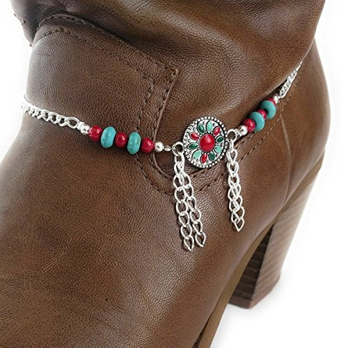 Boot Bracelet Chain Coral Turquoise 15 Inches ()
