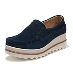 487f16ae960 HKR Women Platform Slip On Loafers Comfort Suede Moccasins Wide Low Top  Wedge Shoes - Casual Women s Shoes