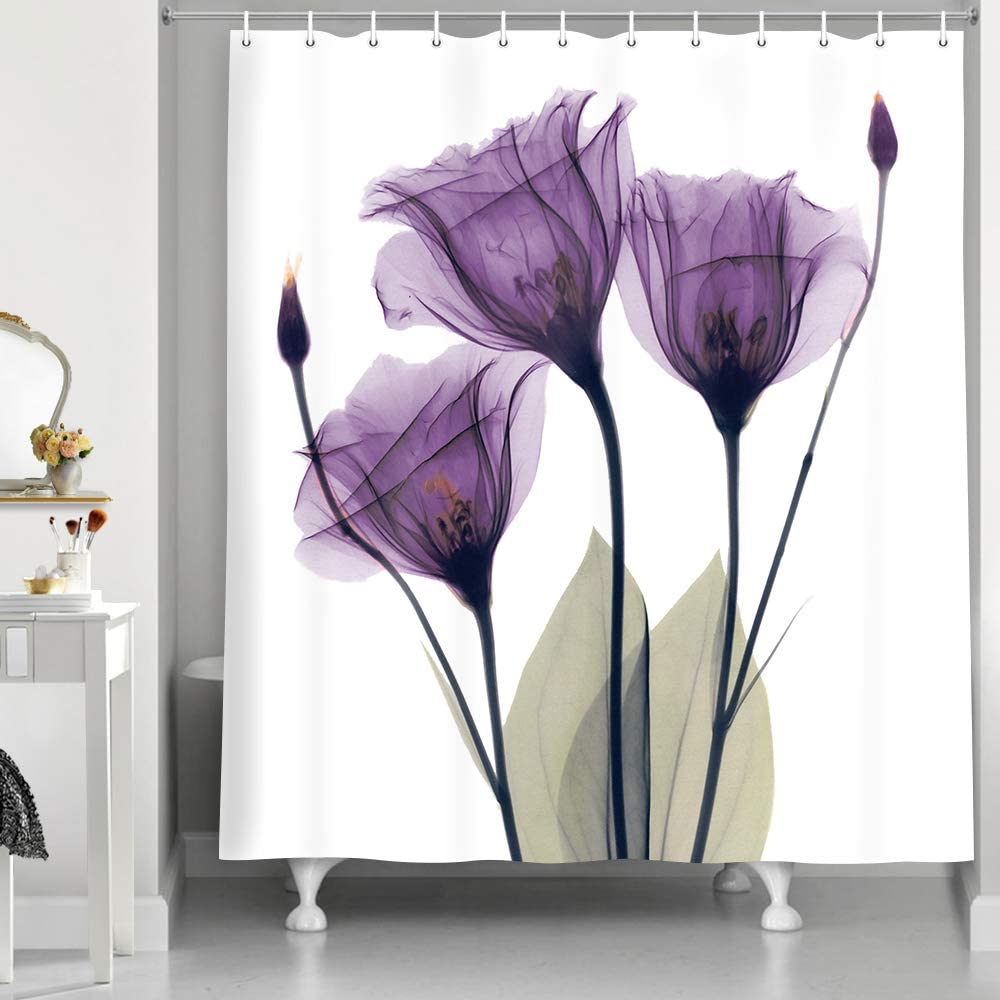 NYMB Elegant Tulip Purple Flower Shower Curtain, Violet Floral Decor Giclee Prints Artwork Modern Home Decorations Bath Curtain, Waterproof Polyester Fabric Bathroom Decor Set, 69X70 Inches, Purple