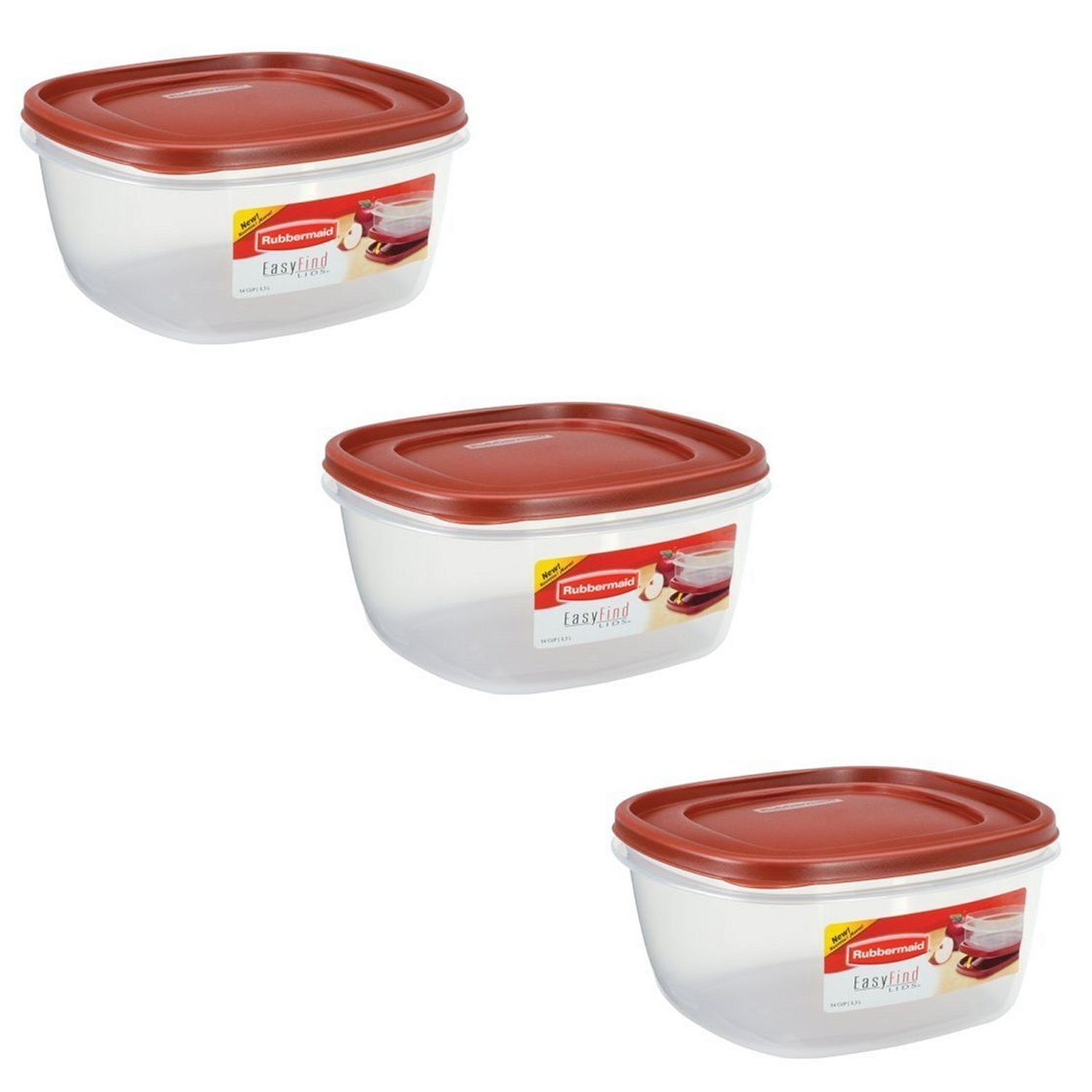 Rubbermaid - 1777161 Easy-Find Lid Food Storage Container, 14-Cups Pk of 3