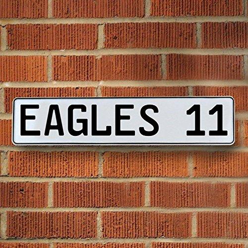 Vintage Parts 336788 Eagles 11 NFL Philadelphia Eagles White Stamped Street Sign Mancave Wall Art, 1 Pack (Eagle Street Sign)