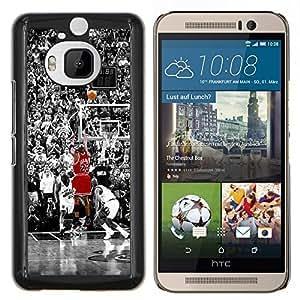 23 Baloncesto Bull- Metal de aluminio y de plástico duro Caja del teléfono - Negro - HTC One M9+ / M9 Plus (Not M9)